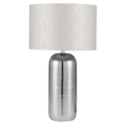 Silver Stripy Ceramic Table Lamp