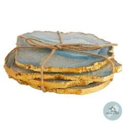 Agata Blue Gold Coasters