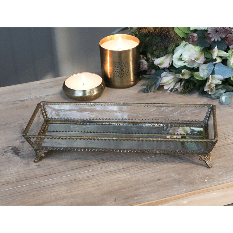 Glass Tray with Brass DEcor