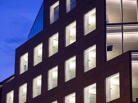 illuminated office building free stock image