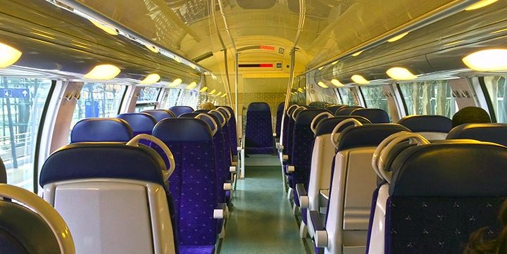 modern train interior free stock image