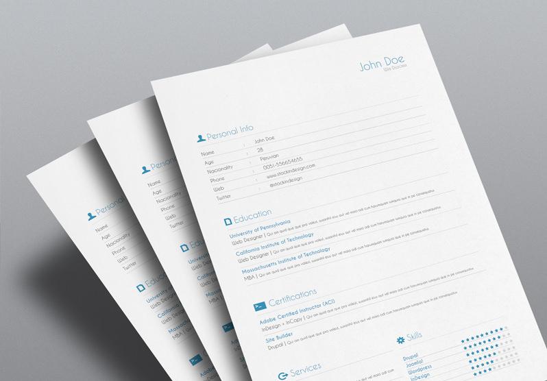 5 cv resume indesign templates stockindesign