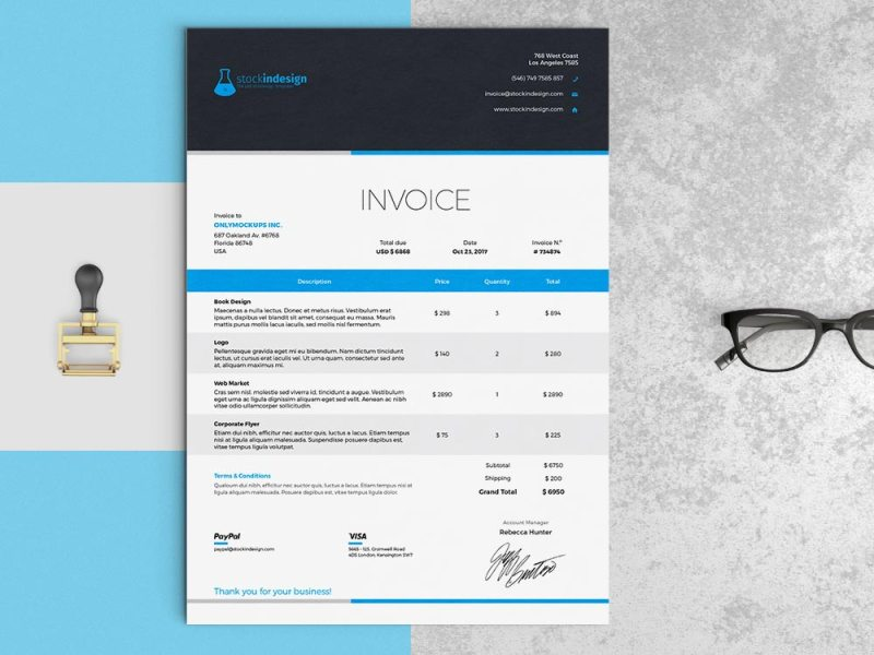 Elegant Invoice Template   InDesign Template Elegant Invoice Template
