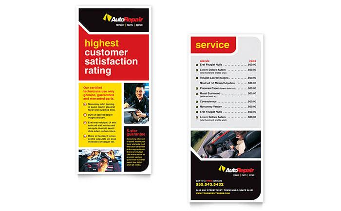 Auto Repair Rack Card Template Design
