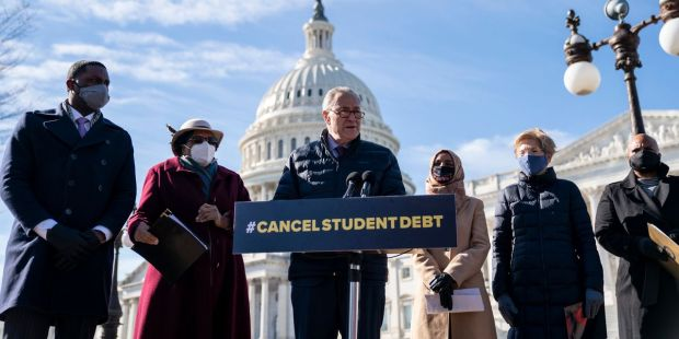 Schumer suggests pandemic relief bill puts student-debt cancellation into play