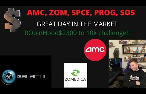 AMC, SPCE, ZOM, PROG, SOS shares label in! $2300 to 10k shares blueprint back! AMC initiating to squeeze?!