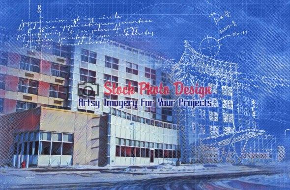 Industrial Building Blueprint Effect