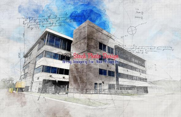 Modern Industrial Building with Grunge Sketch Effect 1