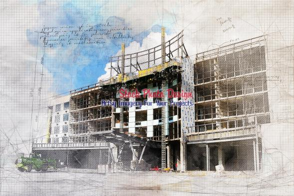 Large Construction Project Grunge Sketch 1
