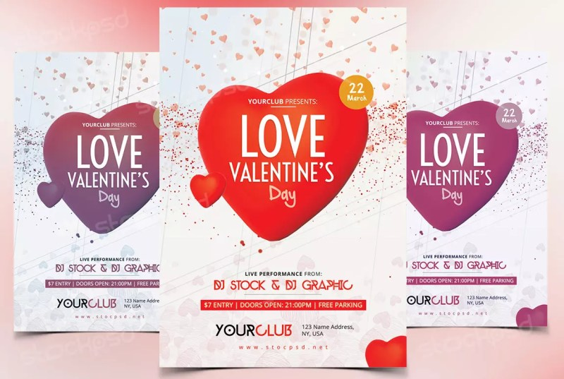 Love Valentines Day Free Psd Flyer Template Stockpsd Free