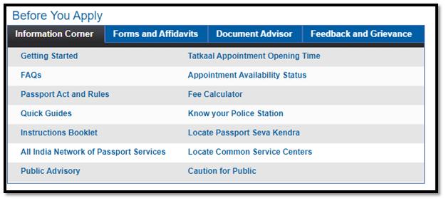 Passport Seva Website Information Corner