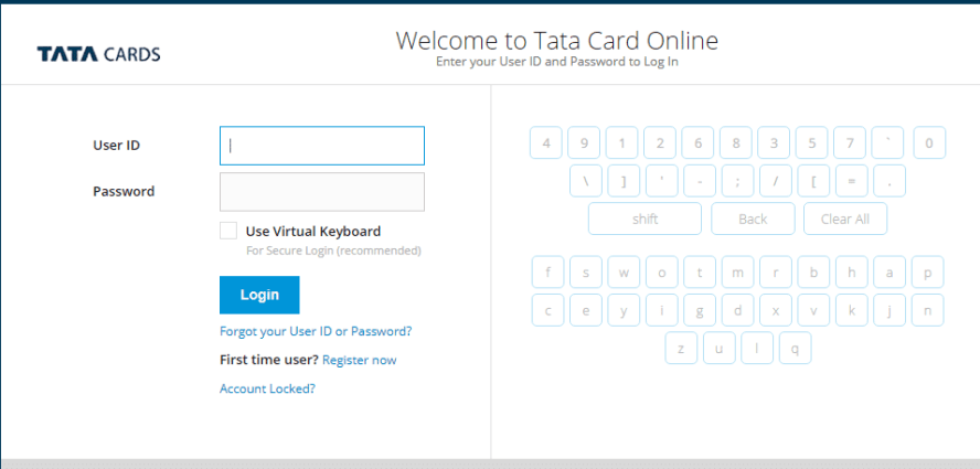 Tata Credit Card Login