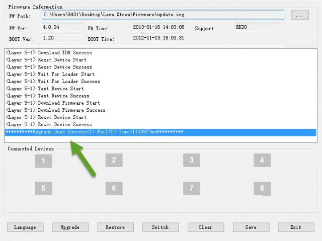 Upgrade Done Success RK Batch Tool