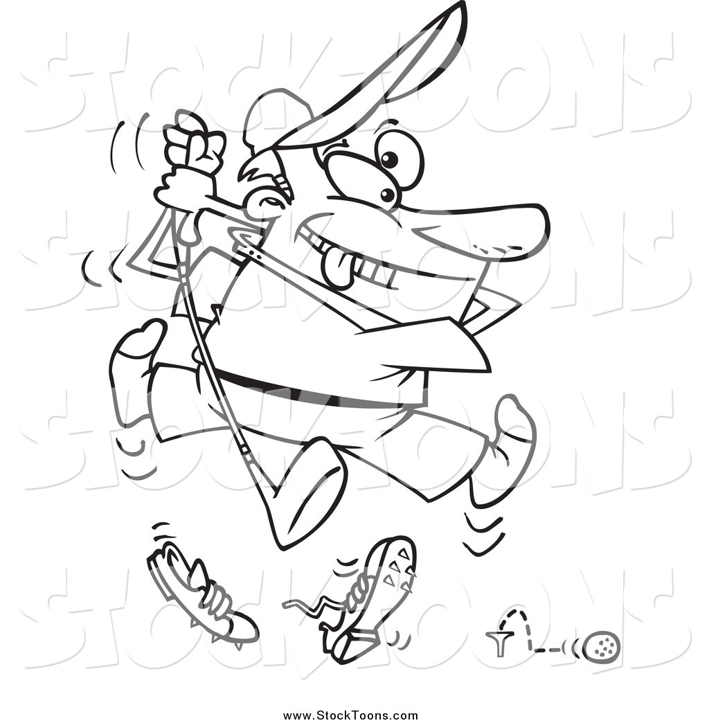 Stock Cartoon Of A Black And White Enthusiastic Bad Golfer