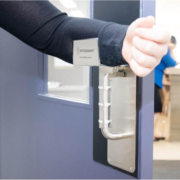 Hands Free Door Opener - In use - For Vertical Pull Door Handles
