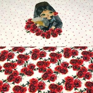 Stenzo Jersey Stoff Blumen rot