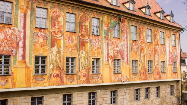 Painting on the side of the Rathaus, Bamberg Germany
