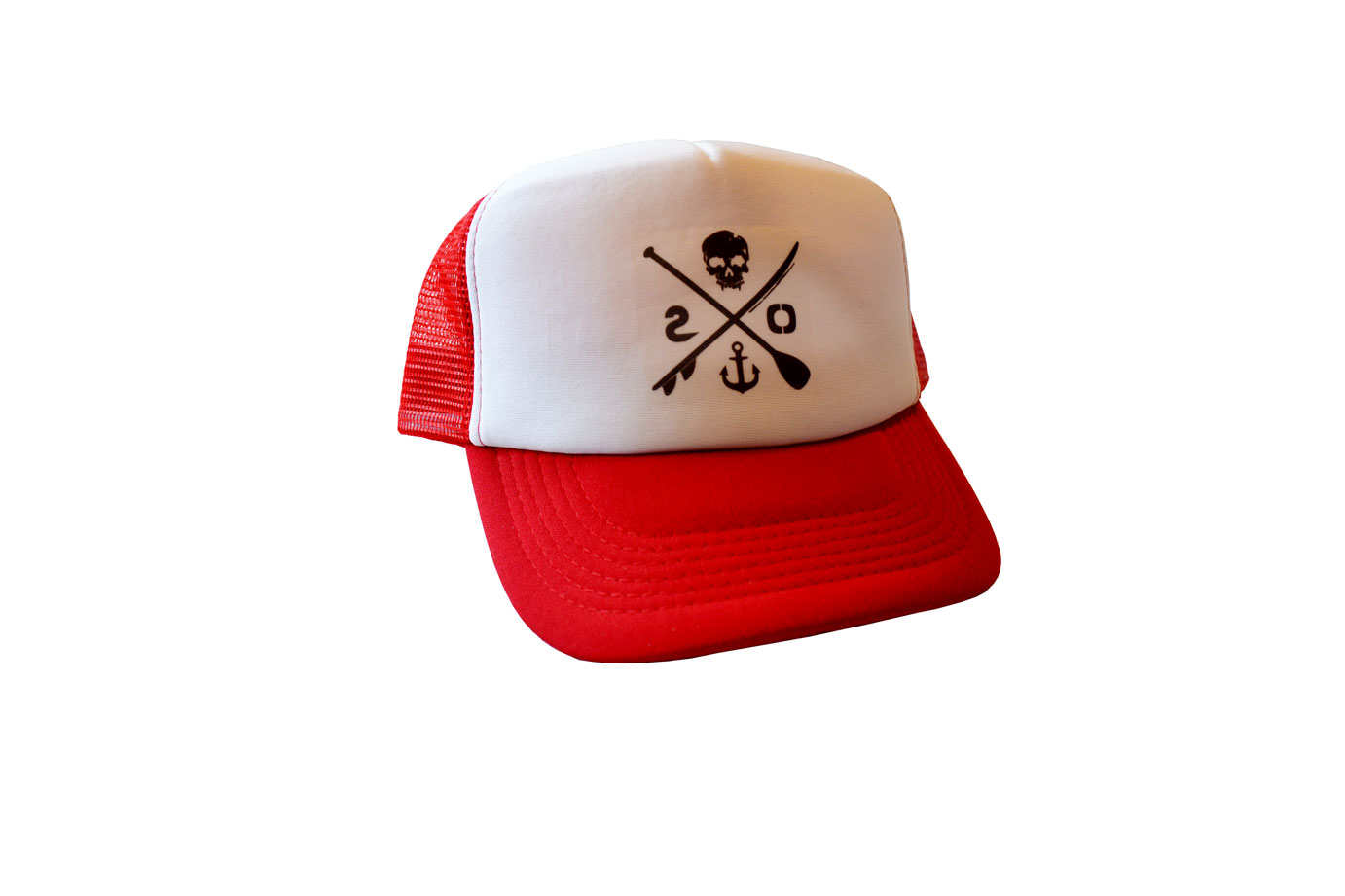 trucker hat stoked mash cap stoked for life red front panel view