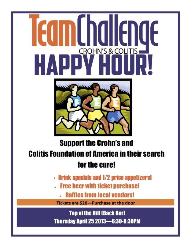 Team Challenge Race Top of the Hill Fundraiser Happy hour bar stephanie hughes stolen colon crohn's ostomy blog ibd
