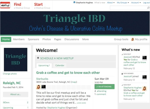 triangle ibd meetup support group raleigh durham wake county cary apex wake forest chapel hill friends crohn's disease ulcerative colitis inflammatory bowel disease ostomy jpouch blog stephanie hughes stolen colon
