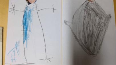 Bildet til høyre ble tegnet av et barn som var borte de to første dagene.