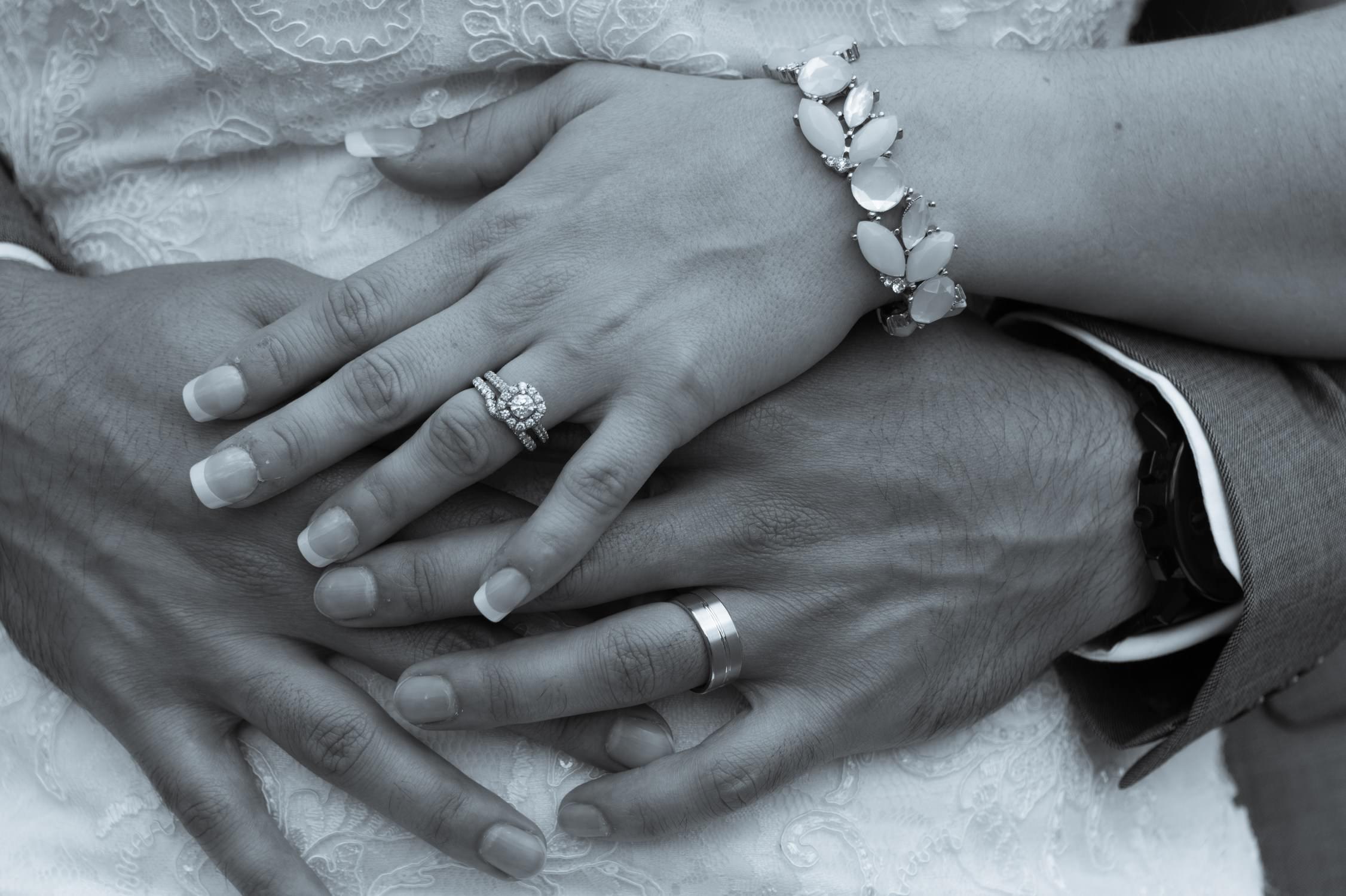 Bride And Groom Rings Hands