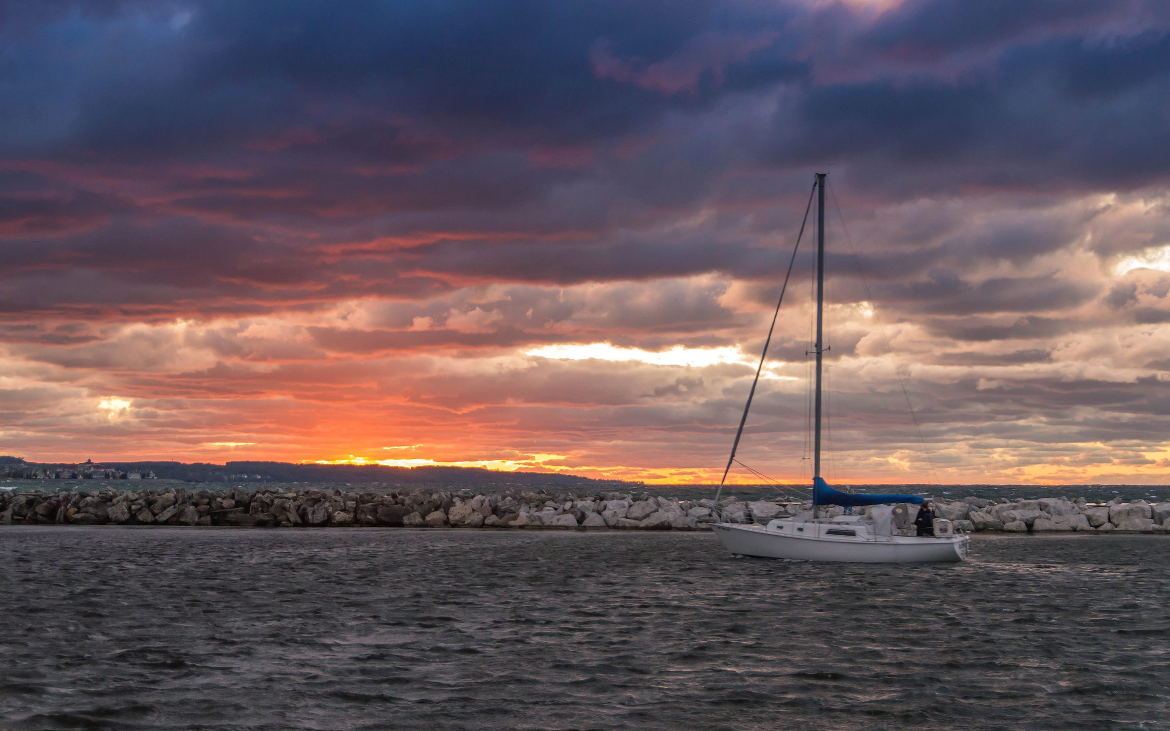 Sailboat Returns To Port In Petoskey Michigan