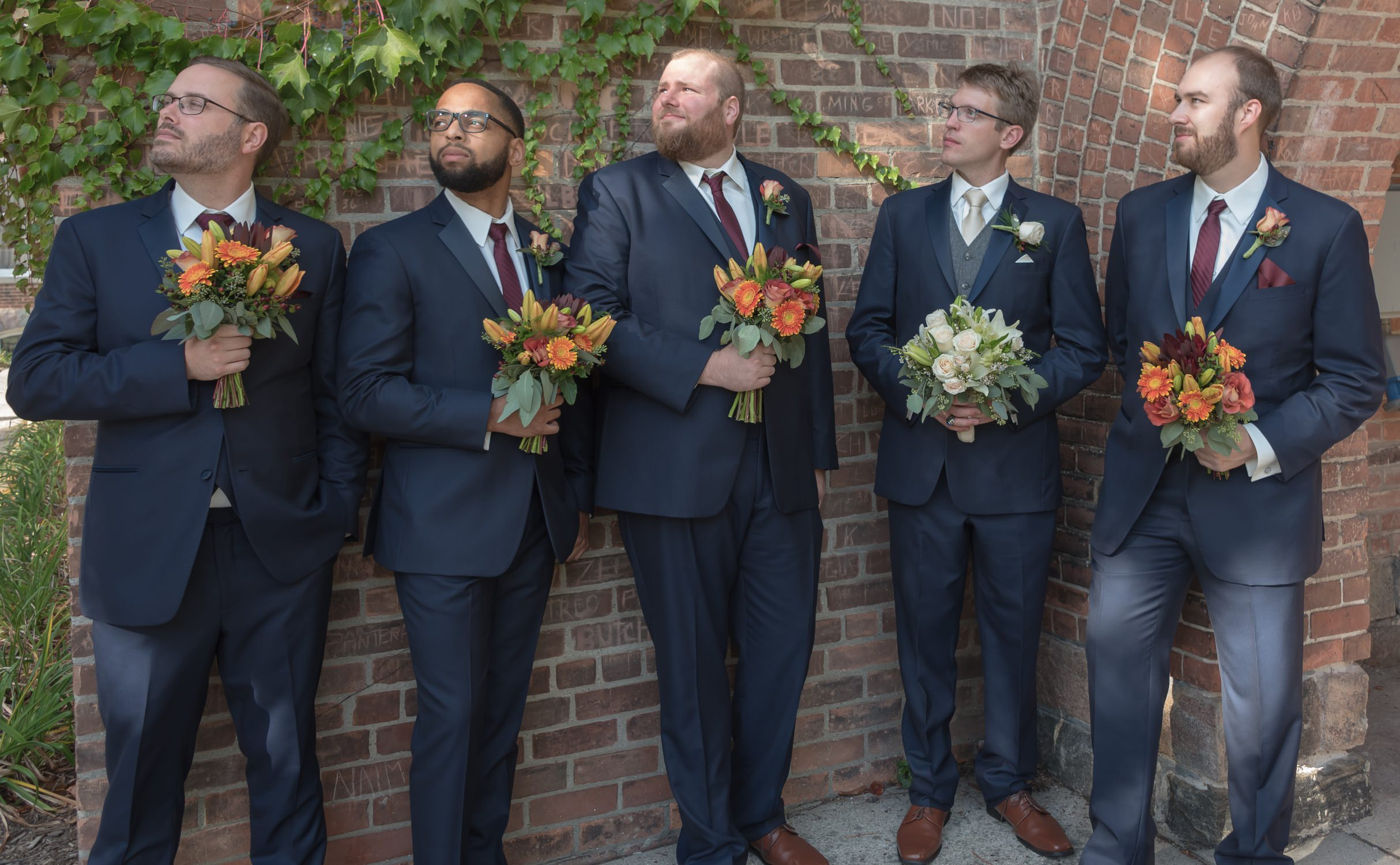 Funny Groomsmen With Flowers