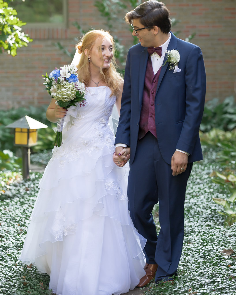 Bride And Groom Walk In The Garden, Oak Arbor Church, Rochester MI