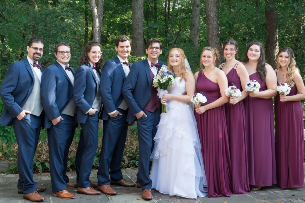 Bridal Party In Navy Blue and Fuchsia