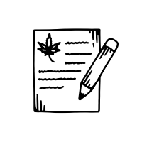 an icon of a drawing of a pencil on paper with a cannabis leaf on it