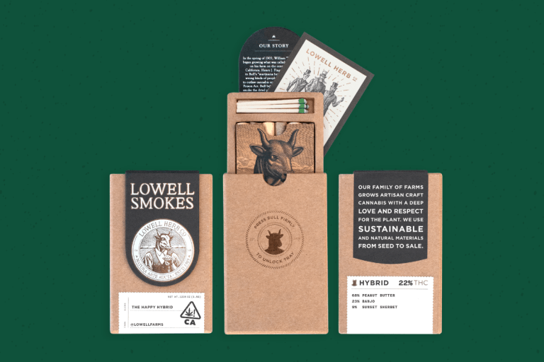 image of lowell farms branding and packaging in front of green background