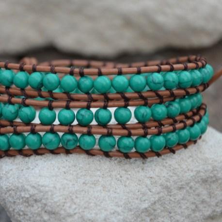 Leather Wrap Green Turquoise, handmade bracelet, Stone Era, Manon Tremblay