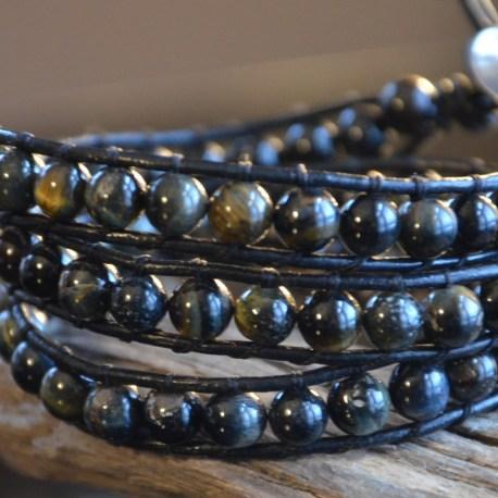 Stone Era, Leather wrap bracelet, Blue Tiger Eye, Manon Tremblay