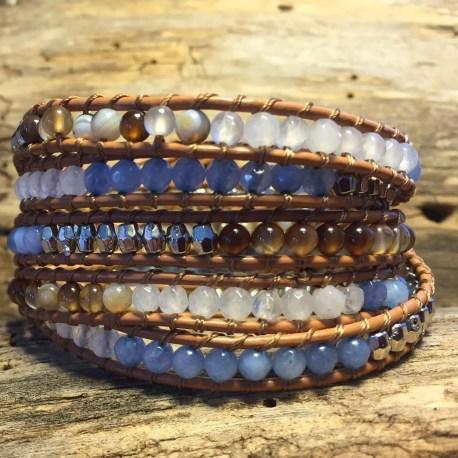 Stone era bracelet, leather handmade in canada ottawa manon tremblay, jade agate and aquamarine