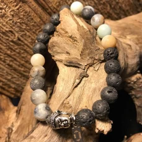 Stone Era Manon Tremblay Ottawa amazonite and lava for her handmade natural stone bracelets