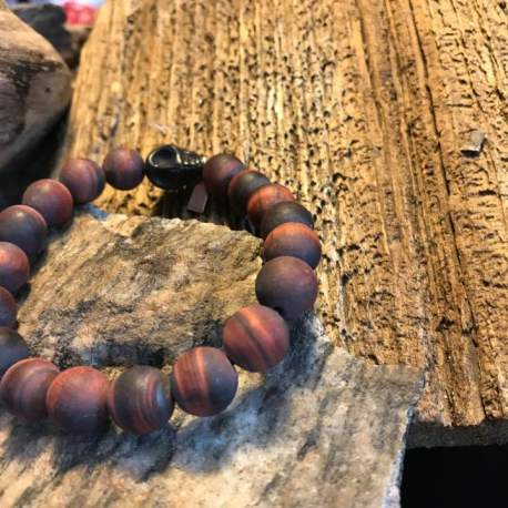 Stone Era Natural stone bracelet, Manon Tremblay Tiger Eye with Skull for men