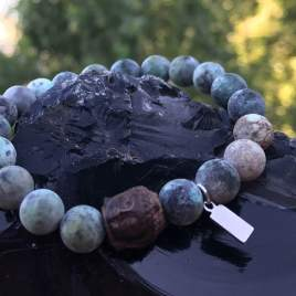African Turquoise with wood Buddha (10mm for him)