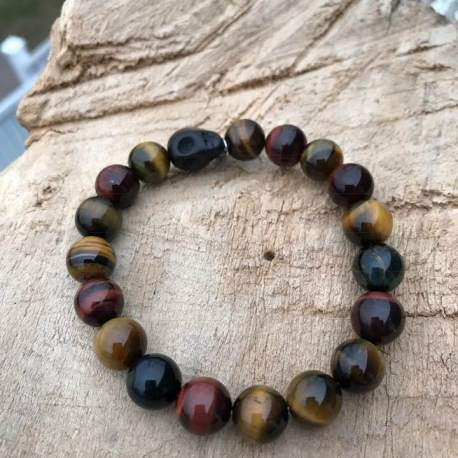 Vegan Stone Era Balance bracelet for men blue red and yellow tiger eye with skull manon tremblay ottawa