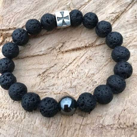 Vegan lava stone hematite for man wood cross manon tremblay ottawa handmade