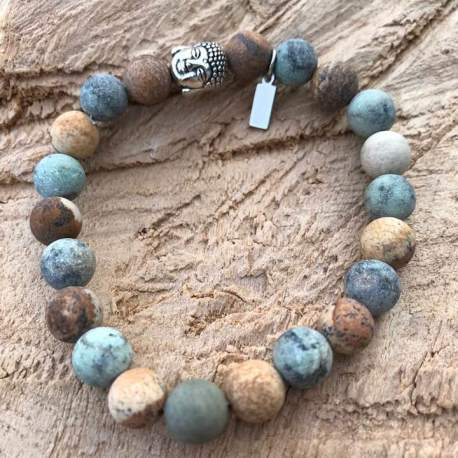 stone era bracelet manon tremblay handmade ottawa jasper and african turquoise with buddha