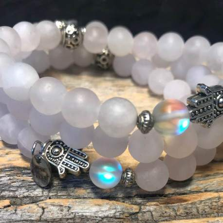 Rose quartz with crystal stone era natural stone bracelet for her