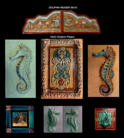 Stonelight Tile Inc San Jose CA Custom Tile dolphins-seahorses: