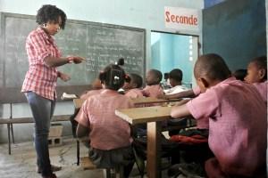A dedicated teacher at Ecole Communautaire de Cazeau