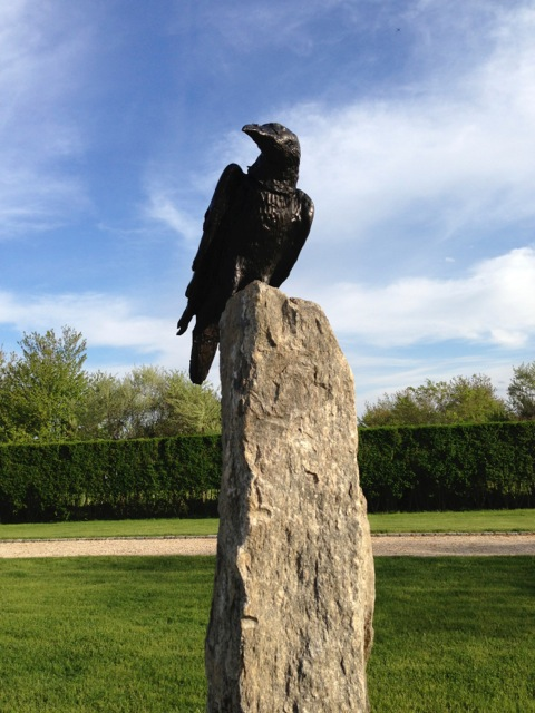 Bronze Raven on Granite Post