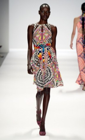 Colorful Tribal Print Dress with Bright, Juxtaposing, Sash