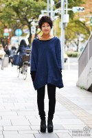 Oversized Textured Navy Sweater with Black Skinnies