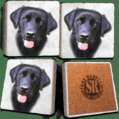 Black Labrador Marble Coaster Set