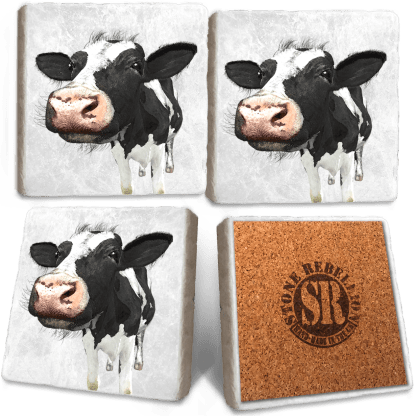 Dairy Cow Marble Coaster Set