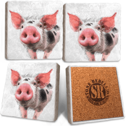 Pig Marble Coasters - Set of 4